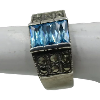 VINTAGE Blue Gem and Marcasites Ring  Pretty   Size 6 1/2