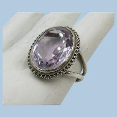 VINTAGE Sterling Ring with Quartz Lavender Set   Size  6 1/2