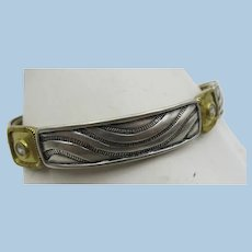 VINTAGE Sterling Links with Brass and Crystals  Elastic Bracelet