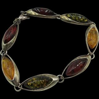 VINTAGE  7  Sterling Amber Links Bracelet  8 Inch Length