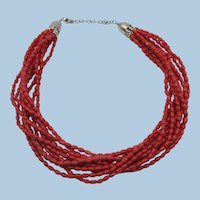 VINTAGE 10 Strand Red Coral Choker Necklace 17 Inch with Extender