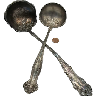 VINTAGE 2 large and long Ladles 12 Inches and 10 Inches Silverplate  Rogers