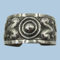 VINTAGE 900 Silver Made in Mexico Impressed Wide Cuff  Bracelet