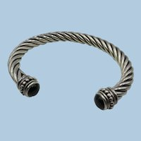 VINTAGE Lovely Sterling Twist Bracelet with Onyx Ends Rigid
