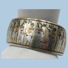 VINTAGE 1953 Silver Tone Egyptian Motto Wide Bracelet  Reed and Barton