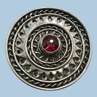VINTAGE  1 1/2  Inch Sterling Brooch with Neat Ruby