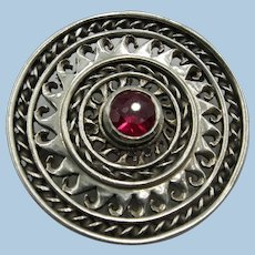 VINTAGE  1 1/2  Inch Sterling Brooch with Neat Garnet