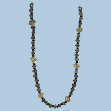 VINTAGE  Brown crystal beads with brown metal spacers  7 square beads of lighter yellow brown Necklace  18 Inches