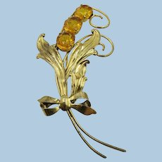 VINTAGE Sterling Yellow Flower Brooch  Marked Sterling