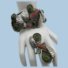VINTAGE  Sterling Native American Bracelet and Ring Set Peridot Nuggets and Coral Large
