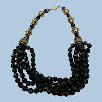 VINTAGE  5 Strand  Black Glass Choker  Necklace  16 inch.