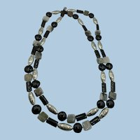 VINTAGE 46  Inch  String of Agate and Onyx and Silver Colored Beads