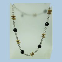 VINTAGE 18 Inch Wood and Black Faceted Bead with Silver Colored Chain