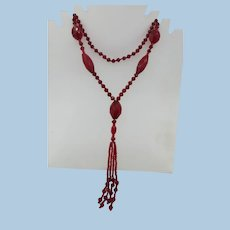VINTAGE Flapper 40 Inch Red Glass Bugle Bead Necklace  Stunning