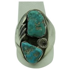 VINTAGE  Large Sterling Size 10 Ring with Two Turquoise and Silver decorations  Size 10