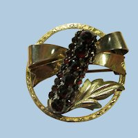 VINTAGE  Gold Filled Small Brooch with a Bar of Bohemian Garnets