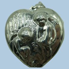 VINTAGE  Sterling 925 Large 1 1/2  Inch  Tall Puff Heart Locket