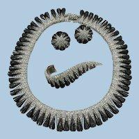 VINTAGE Marcel Boucher Cleopatra Necklace Earrings Brooch  Rhinestones and Enamel  Signed