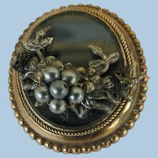 VINTAGE  Victorian Mourning Brooch  With Pretty Silver Colored Seed Pearls  Small