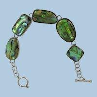 VINTAGE Abalone Shell and Sterling 925 Toggle Bracelet
