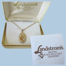 VINTAGE Black Hill Gold Pendant  in Original Box with Papers
