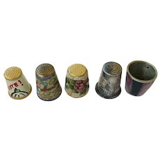 VINTAGE 5 Collectable Thimbles  One Sterling - One Needle-One of MOP- One 1976- One Cloisonne   Beautiful