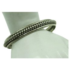 VINTAGE Sterling Two Row Cuff Bracelet with Large Twist  TaHe signed