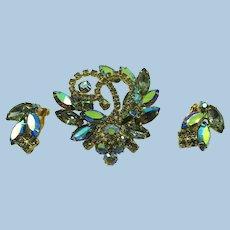 VINTAGE  60'S Glitz Brooch and Earrings Glitter Glitter