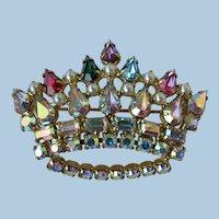 VINTAGE  B. David 60's Crown Rhinestone Brooch   Classic