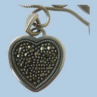 VINTAGE  3.4 Inch Sterling Heart with Marcasites and Bumps   20 Inch Sterling Snake Chain