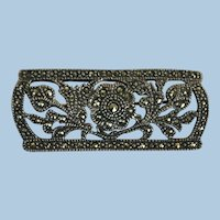 VINTAGE Sterling 925 Marcasite and Decoration Bar Brooch
