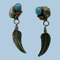 VINTAGE  Sterling Coral and Turquoise Dangling Feather Earrings