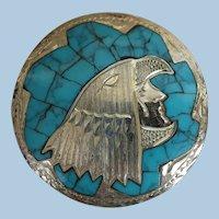 VINTAGE   Sterling Chip Brooch of Mayan Bird-Man God
