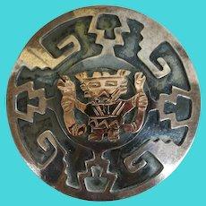 VINTAGE  Sterling Peru Golden God  In Silver Overlay