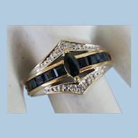 VINTAGE 14k  Yellow Gold Sapphire and Diamond Size 9 Ring