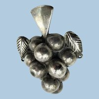 """VINTAGE  Classic Mexican Silver Very Old  """"Silver Classic Grapes Brooch"""""""