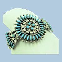 VINTAGE Dan Etsate Zuni Turquoise Needle Point Cuff Bracelet
