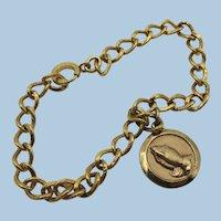 VINTAGE Gold-Filled Praying Hands  7 1/4 Inch Chain Bracelet