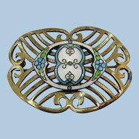 VINTAGE Brass Brooch with Guilloche  Enamel
