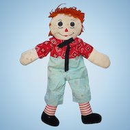 Vintage Raggedy Andy Cloth Doll Orange Hair 21 Inch Handmade