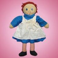Vintage Raggedy Ann Doll in Blue Cotton Dress 19 Inch Handmade
