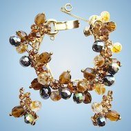 C1960 Juliana DeLizza & Elster Bracelet Earrings Rhinetone Set Aurora Borealis Bronze Beads