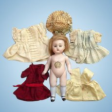 Antique Kestner 6 Inch All Bisque Jointed Child Doll Glass Sleep Eyes + Five Piece Original Wardrobe Germany