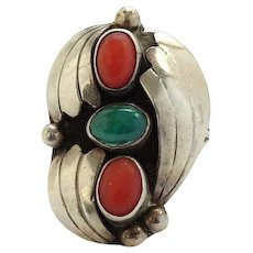 Vintage Native American Coral and Green Turquoise Ring Size 5 1/4 Double Split Shank