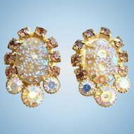 Juliana DeLizza & Elster Earrings Pressed Dimple Glass Rhinestone AB Book Piece