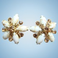 C1960s Juliana DeLizza + Elster White Rhinestone Clip Earrings with Gold Fluss