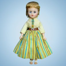 1957 Miss Nancy Ann Doll Blonde Ponytail in 319 Yellow Striped Outfit