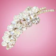 Vintage Juliana DeLizza + Elster Clear Bead Leaf Brooch Sparkling