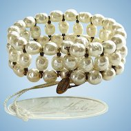 Miriam Haskell Wrap Bracelet Baroque Pearl Coil with Tags Vintage Signed