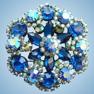 Juliana DeLizza & Elster Snowflake Pin Brooch Bermuda Blue Rhinestone Book Piece
